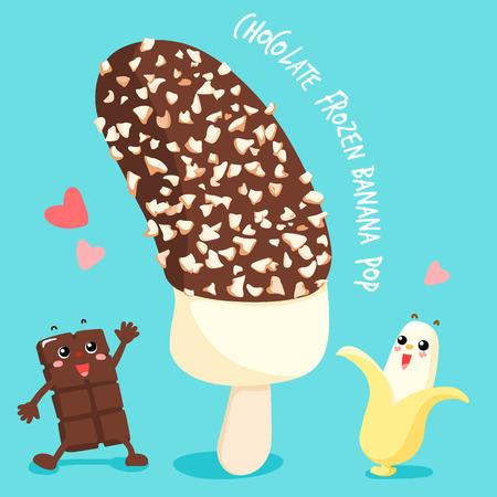 dark chocolate frozen banana pop vector illustration Ilustrace