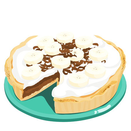 rich in vitamins: dark chocolate banana cream pie vector illustration