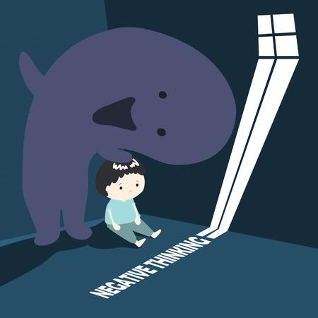 dim: boy with negative thinking monster cartoon vector illustration