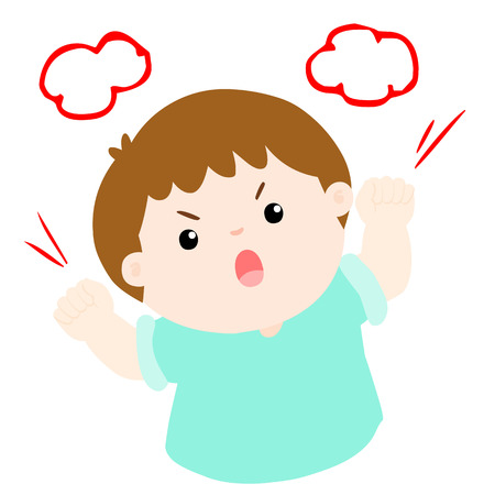 angry boy shout loudly on white background vector illustration