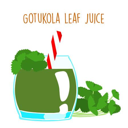 leprosy: fresh gotukola juice in glass with tube vector illustration