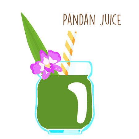 fresh green aromatic pandanus leaf juice vector illustration