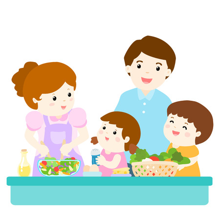 kitchen illustration: happy family cook healthy food together vector illustration Illustration
