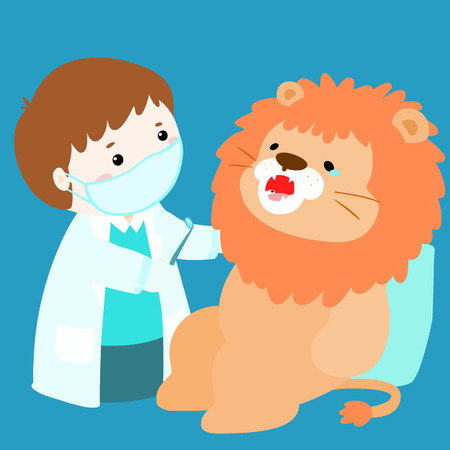 role play: little boy cure doll have tooth decay vector illustration Illustration