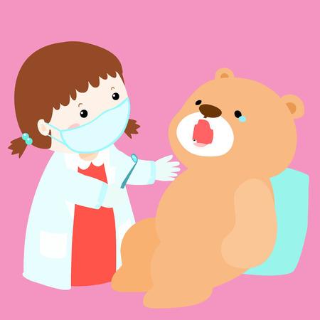 diente caries: cura mu�eca ni�a tiene dientes ilustraci�n vectorial decadencia Vectores