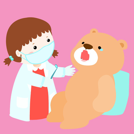 role play: little girl cure doll have tooth decay vector illustration Illustration