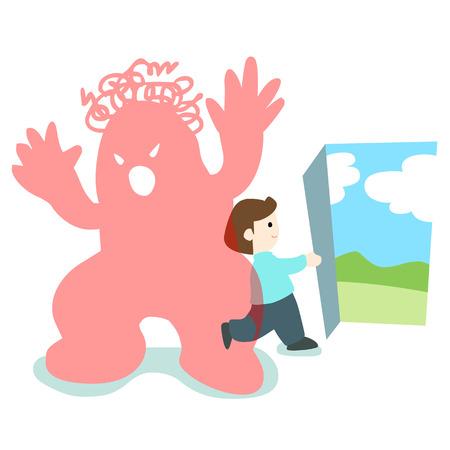 happy man walk through trouble monster illustration Illustration