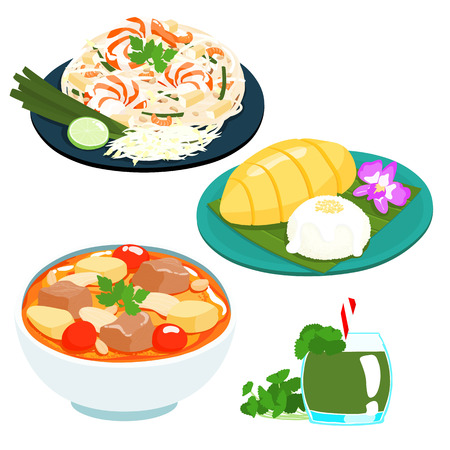 popular Thai sweet mango sticky rice set vector illustration Stock Vector - 43460926