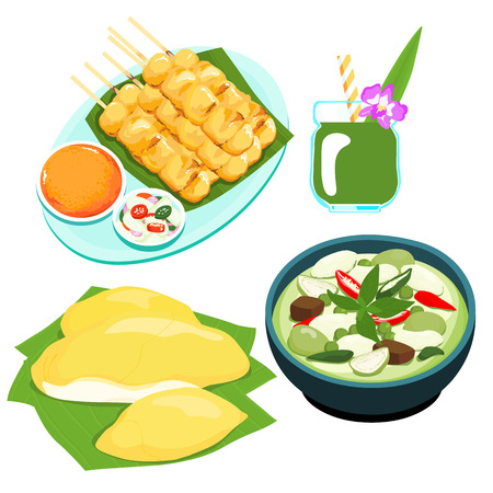 prickly fruit: popular Thai green curry food set vector illustration