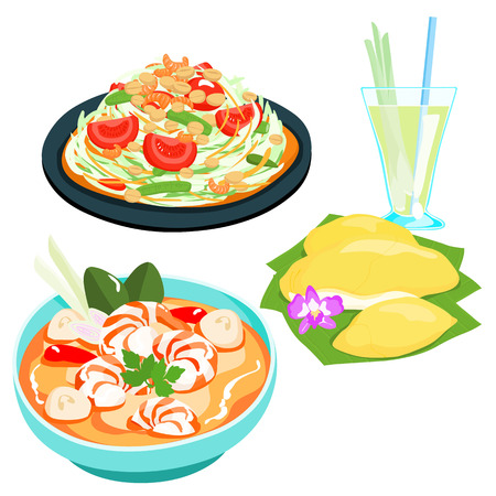 lemon grass: popular Thai food papaya salad set vector illustration