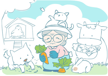 grown with love: happy granny gardening with her pet vector illustration