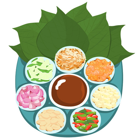 wrapped: Leaf wrapped salad bite Thai appetizer vector