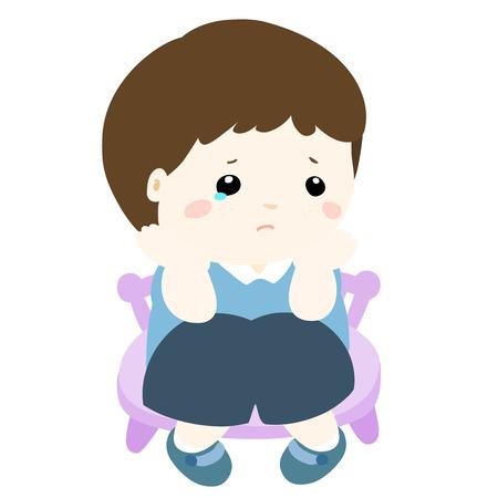 glum: sad little boy on white background vector illustration
