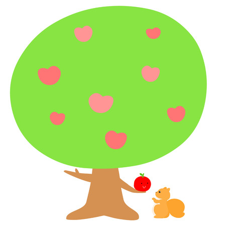 admire: love tree give fruit to squirrel vector illustration