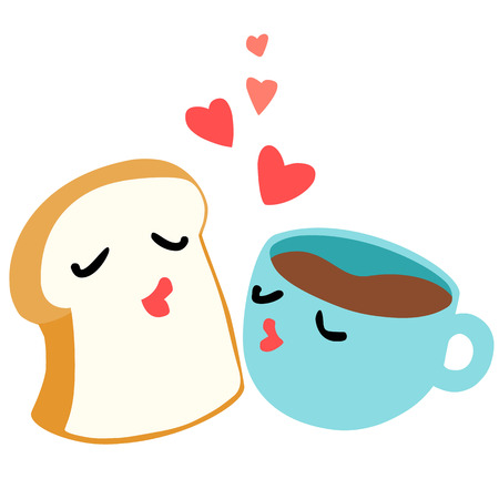 mates: bread and coffee are lover breakfast vector illustration Illustration