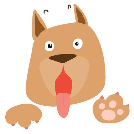 perro asustado: perro marrón asustada en el fondo blanco ilustración vectorial