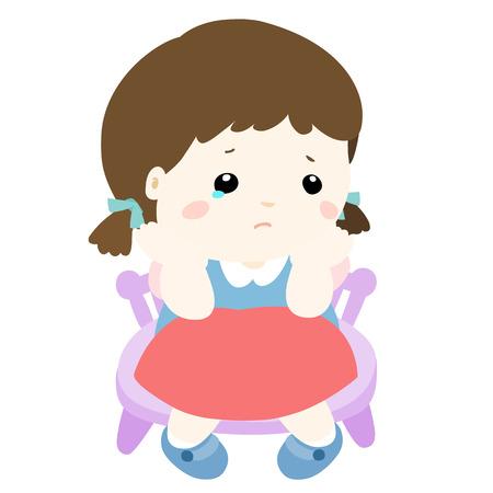 sentarse: niña triste en el fondo blanco ilustración vectorial