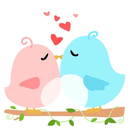swain: love bird on branch white background vector illustration Illustration