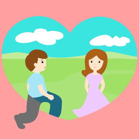 walk through: man walk through loveland find woman vector illustration Illustration