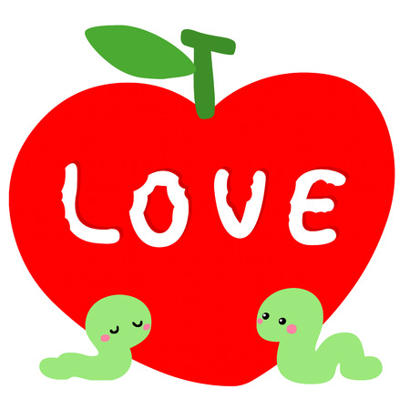 worm in love with red apple vector illustration Иллюстрация