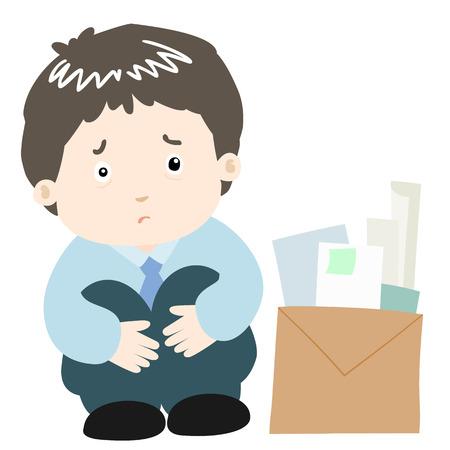 glum: sad businessman on white background vector illustration