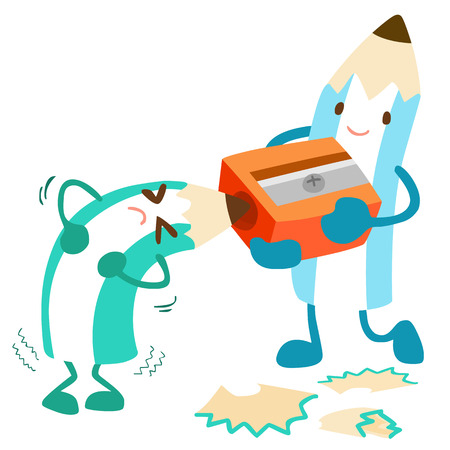 hardy: pencil help his friend for more effectiveness vector illustration