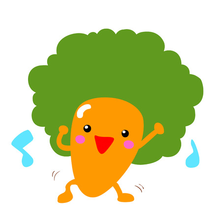 jovial: happy afro carrot dancing with music vector illustration