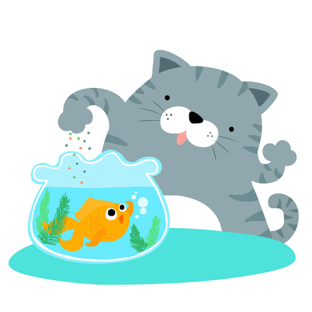 fluffy cat feeding happy goldfish vector illustration