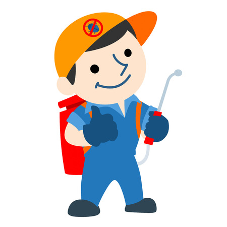 exterminator: pest control service logo cartoon vector illustration Illustration