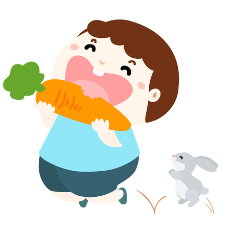 eating food: little boy happy when she eat carrot and jumping with rabbit vector