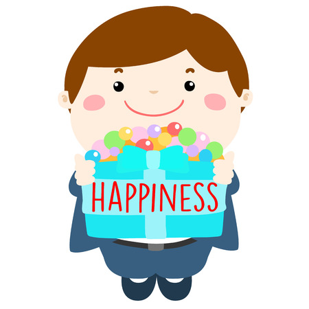 comfortableness: smiley cartoon give happiness box for encouragement illustration
