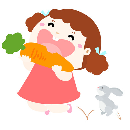 delectable: little girl happy when she eat carrot and jumping with rabbit vector