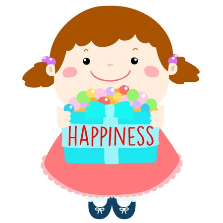 peacefulness: smiley cartoon give happiness box for encouragement illustration