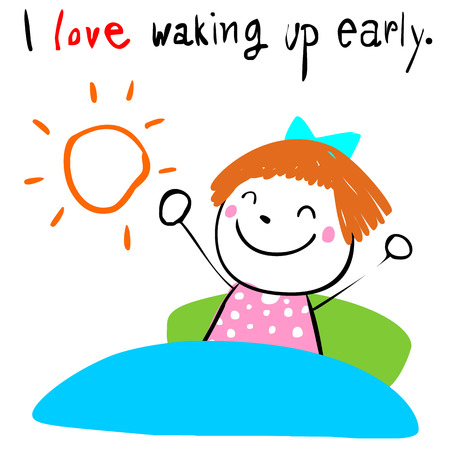 breezy: lively girl love waking up early doodle vector style Illustration