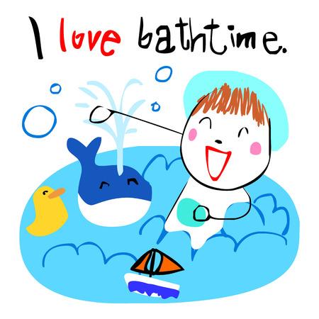 bath time: cute girl love bath time doodle vector style