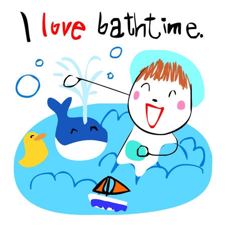 flick: cute girl love bath time doodle vector style