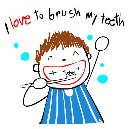 boy love brush teeth doodle style vector cartoon 일러스트