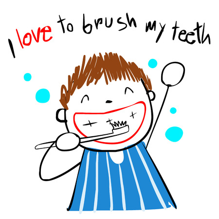 boy love brush teeth doodle style vector cartoon Ilustrace