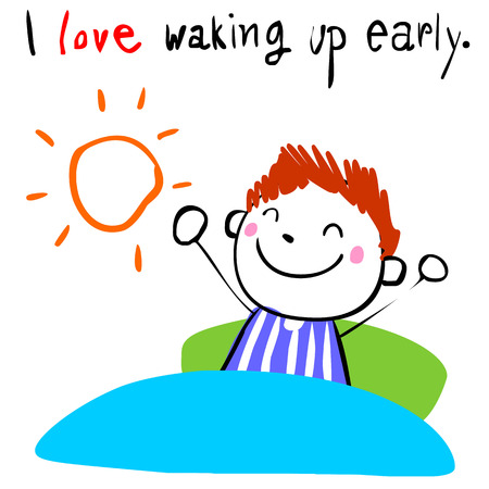 dewy: lively boy love waking up early doodle vector style Illustration