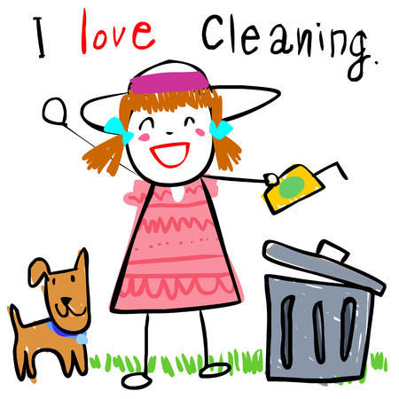 girl love to keep her backyard clean doodle vector style Illustration