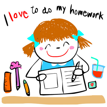 students in class: cute girl do her homework doodle cartoon vector style