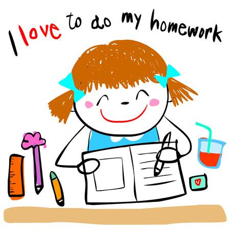 homework: cute girl do her homework doodle cartoon vector style
