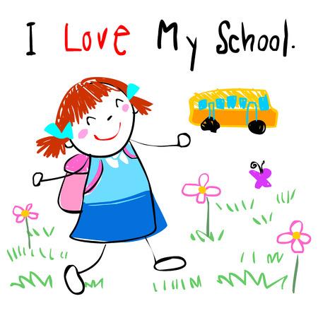 cartoon bus: lively girl happy walk to school doodle cartoon vector style Illustration