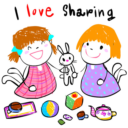 little girl sharing her toy to friend doodle style vector
