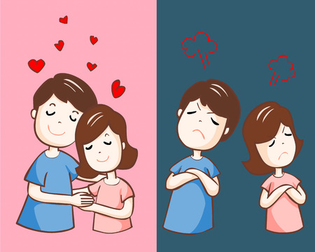happy couple: lover hate and love each other vector illustration