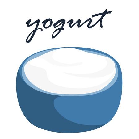 yogurt natural: yogur natural en un recipiente azul ilustración vectorial Vectores