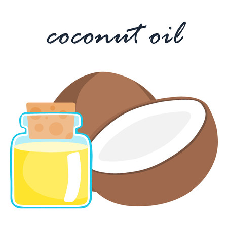 estrogen: coconut and coconut oil product on white background vector Illustration