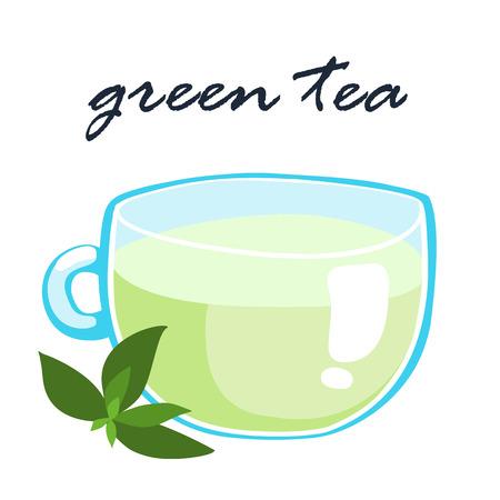 tea   hot drink: a cup of hot green tea healthy drink vector