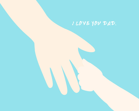 event: daddy hold child hand walk together vector