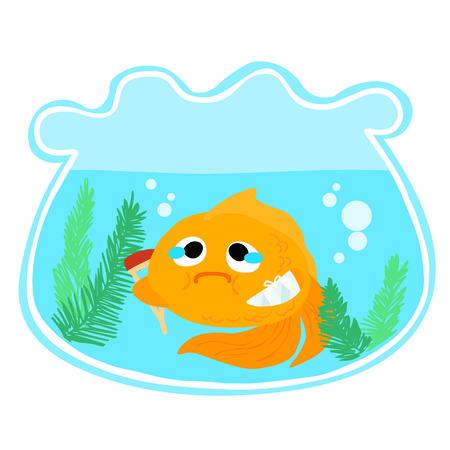 splint: goldfish splinting his arm and hold crutch vector
